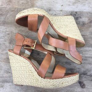 MICHAEL KORS Tan Strappy Wedges